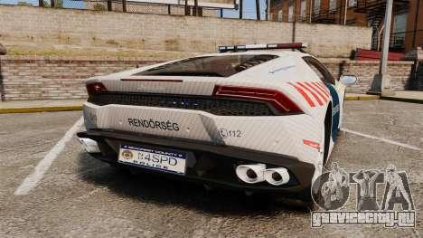 Lamborghini Huracan Hungarian Police [ELS] для GTA 4 вид сзади слева