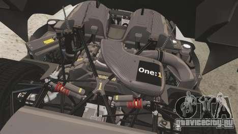 Koenigsegg One:1 [EPM] для GTA 4 вид изнутри
