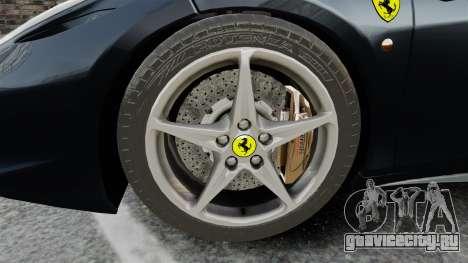 Ferrari 458 Italia для GTA 4 вид сзади