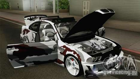 BMW M3 E46 Camo для GTA San Andreas вид сзади