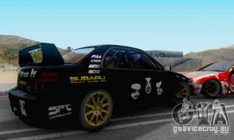 Subaru Impreza WRC STI Black Metal Rally для GTA San Andreas вид слева