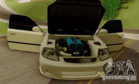 Honda Civic ek Coupe Hellaflush для GTA San Andreas вид сзади