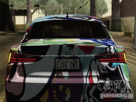 Lexus IS350 FSPORT Stikers Editions 2014 для GTA San Andreas вид сзади