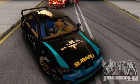 Subaru Impreza WRC STI Black Metal Rally для GTA San Andreas вид сзади