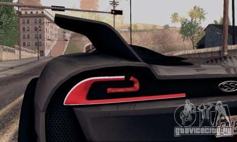 SSC Tuatara 2011 для GTA San Andreas вид изнутри