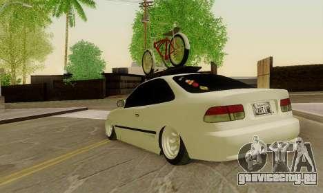 Honda Civic ek Coupe Hellaflush для GTA San Andreas вид сзади слева