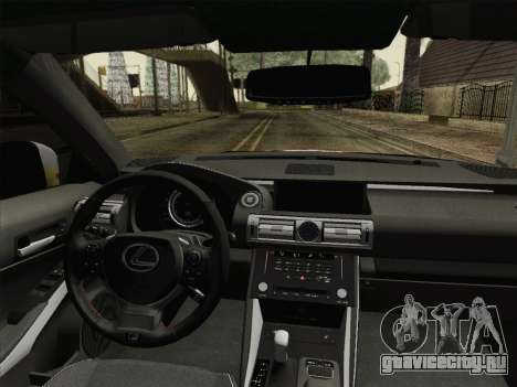 Lexus IS350 FSPORT Stikers Editions 2014 для GTA San Andreas вид изнутри