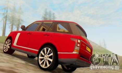 Range Rover Vogue 2014 V1.0 UK Plate для GTA San Andreas вид сзади