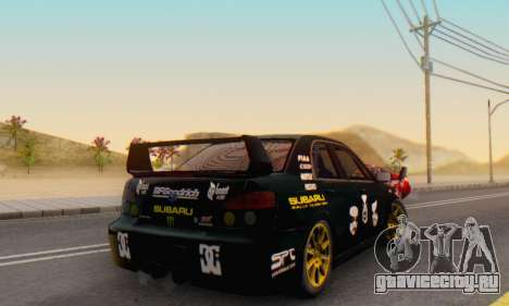 Subaru Impreza WRC STI Black Metal Rally для GTA San Andreas вид изнутри