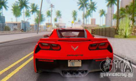 Chevrolet Corvette Stingray C7 2014 для GTA San Andreas вид сзади