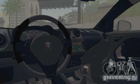 Afla Romeo Mito Quadrifoglio Verde для GTA San Andreas вид изнутри