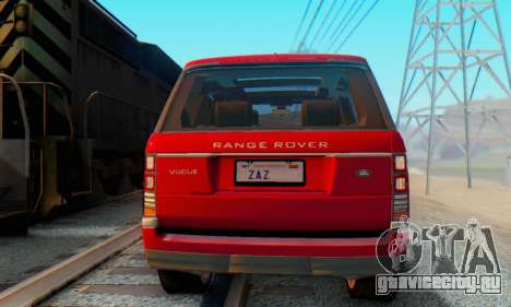 Range Rover Vogue 2014 V1.0 Interior Nero для GTA San Andreas вид сзади слева