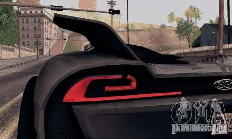 SSC Tuatara 2011 для GTA San Andreas вид сзади
