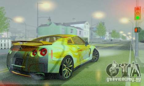 Nissan GTR Heavy Fire для GTA San Andreas вид изнутри