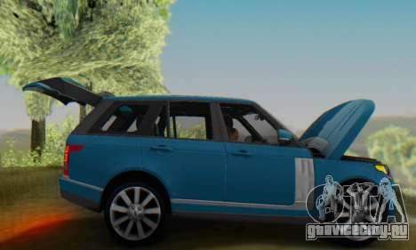 Range Rover Vogue 2014 V1.0 Interior Nero для GTA San Andreas вид сзади