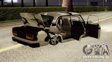 ВАЗ 2107 в камуфляже для GTA San Andreas вид сзади слева