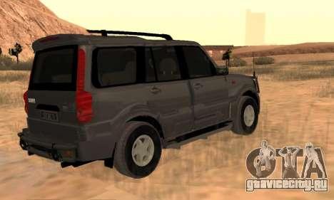 Mahindra Scorpio для GTA San Andreas вид сзади