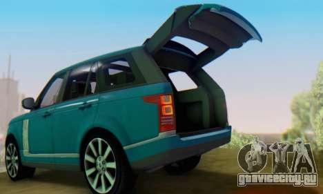 Range Rover Vogue 2014 V1.0 Interior Nero для GTA San Andreas вид справа
