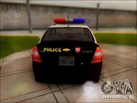 Chevrolet Aveo Police для GTA San Andreas вид справа