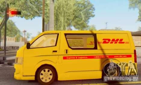 Toyota Hiace DHL Cargo Van 2006 для GTA San Andreas вид слева