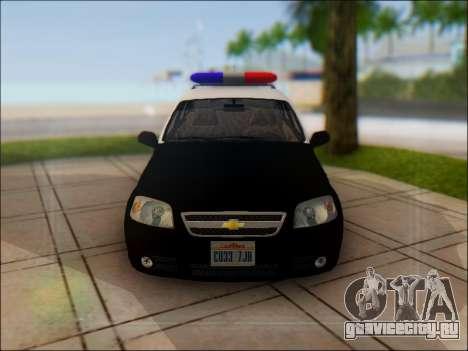 Chevrolet Aveo Police для GTA San Andreas вид сбоку