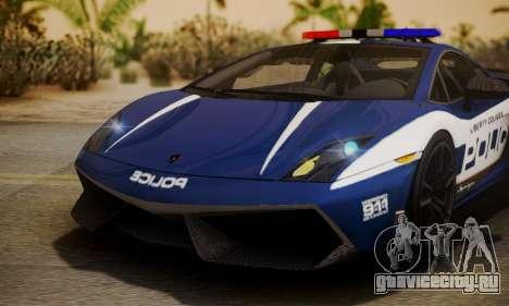 Lamborghini Gallardo LP570-4 2011 Police для GTA San Andreas вид изнутри