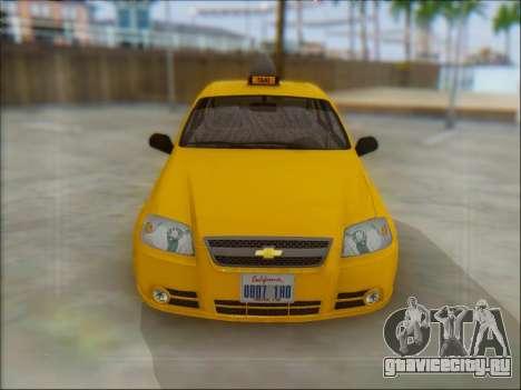 Chevrolet Aveo Taxi для GTA San Andreas вид сзади слева