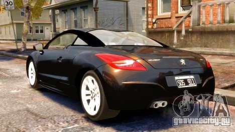 Peugeot RCZ для GTA 4 вид слева