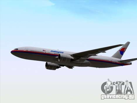 Boeing 777-2H6ER Malaysia Airlines для GTA San Andreas вид изнутри