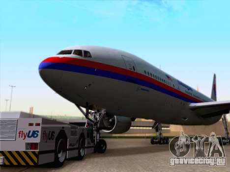 Boeing 777-2H6ER Malaysia Airlines для GTA San Andreas вид сзади слева