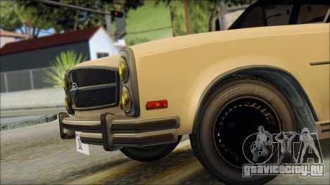 Benefactor Glendale from GTA 5 для GTA San Andreas вид сзади слева