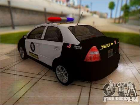 Chevrolet Aveo Police для GTA San Andreas вид сзади слева