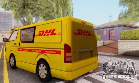 Toyota Hiace DHL Cargo Van 2006 для GTA San Andreas вид сзади слева