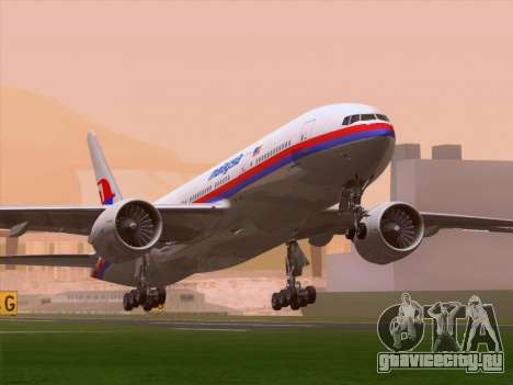Boeing 777-2H6ER Malaysia Airlines для GTA San Andreas вид слева