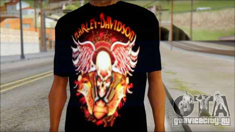 Harley Davidson Black T-Shirt для GTA San Andreas третий скриншот