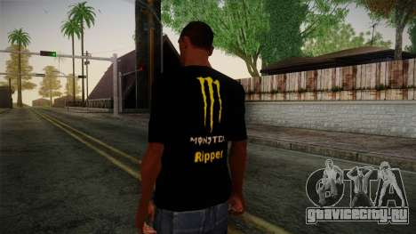 Monster Ripper Shirt Black для GTA San Andreas второй скриншот