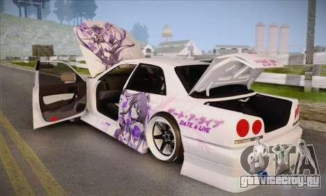 Nissan Skyline ER34 Itasha для GTA San Andreas вид сзади