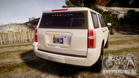 Chevrolet Tahoe 2015 PPV Slicktop [ELS] для GTA 4 вид сзади слева