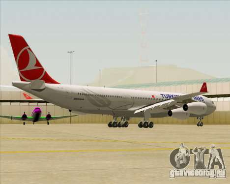 Airbus A340-313 Turkish Airlines для GTA San Andreas вид сзади слева