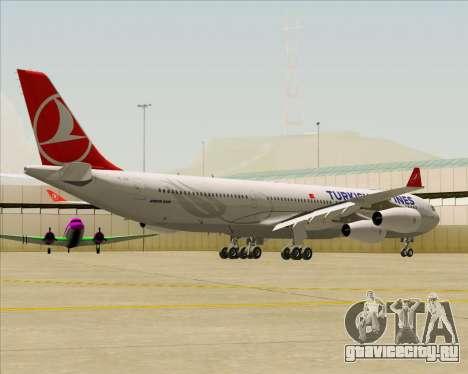 Airbus A340-313 Turkish Airlines для GTA San Andreas вид сзади слева