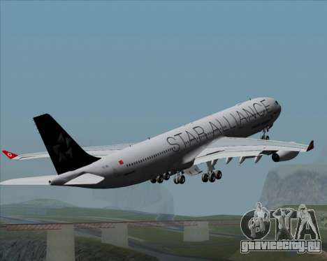Airbus A340-311 Turkish Airlines (Star Alliance) для GTA San Andreas двигатель