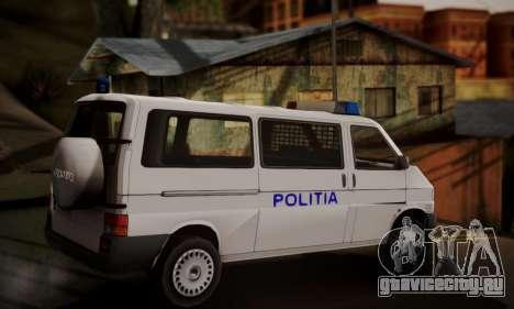 Volkswagen Caravelle Politia для GTA San Andreas вид слева