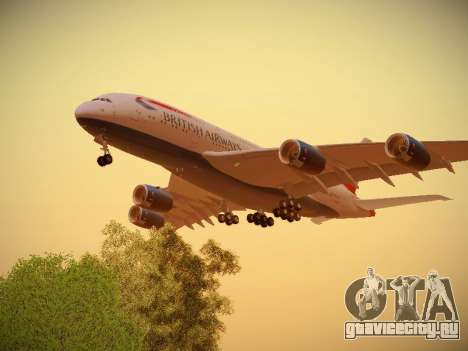 Airbus A380-800 British Airways для GTA San Andreas вид справа