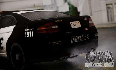 Vapid Police Interceptor from GTA V для GTA San Andreas вид сзади