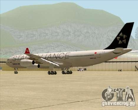 Airbus A340-311 Turkish Airlines (Star Alliance) для GTA San Andreas вид сзади слева