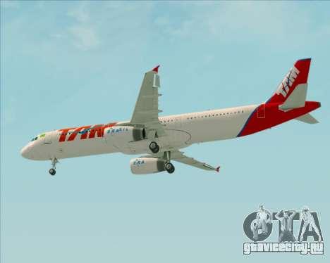 Airbus A321-200 TAM Airlines для GTA San Andreas вид изнутри