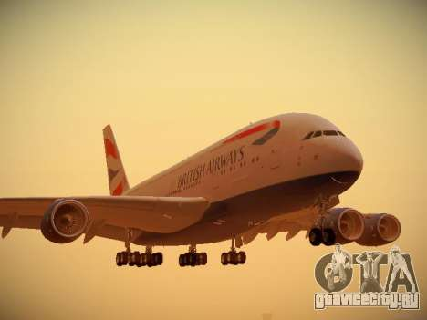 Airbus A380-800 British Airways для GTA San Andreas вид слева