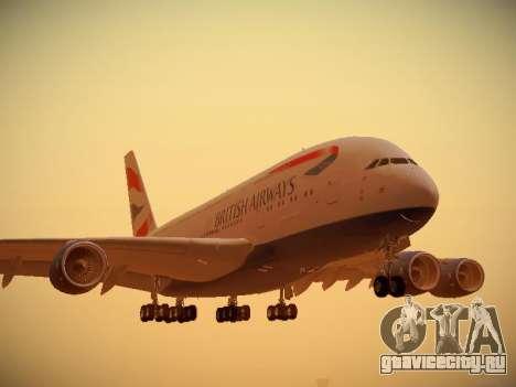 Airbus A380-800 British Airways для GTA San Andreas вид слева