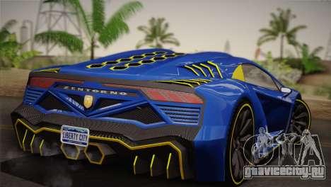 GTA 5 Zentorno для GTA San Andreas вид сзади слева