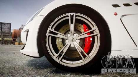 Maserati GranTurismo MC Stradale 2014 [Updated] для GTA 4 вид сзади